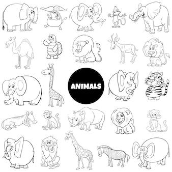 Grande pagina del libro di colore dell'insieme dei caratteri animali del fumetto