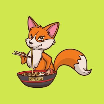 La volpe di disegno animale del fumetto mangia la mascotte sveglia del ramen