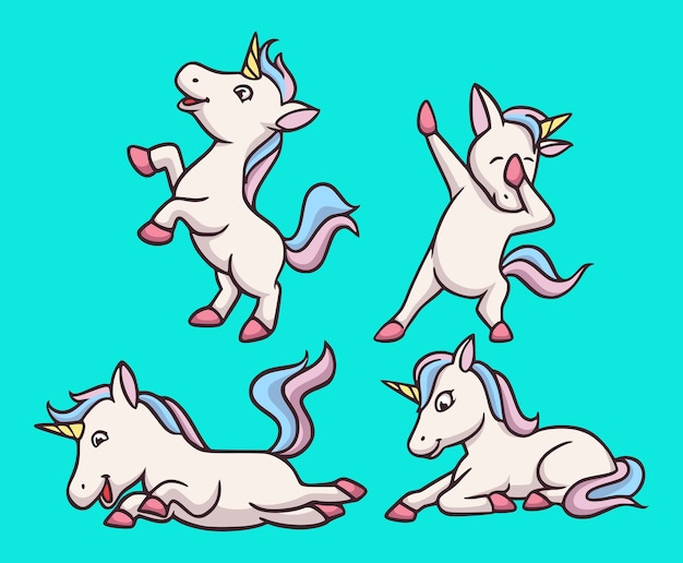 Cartoon animal design happy unicorn carino mascotte illustrazione