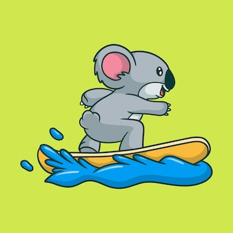 Cartoon animal design koala surf carino mascotte
