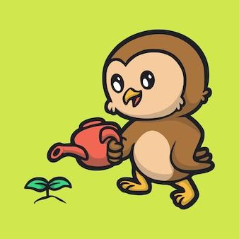 Cartoon animal design gufo che innaffia il logo carino mascotte delle piante