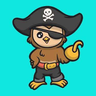 Gufo di disegno animale del fumetto che indossa logo mascotte carino costume da pirata