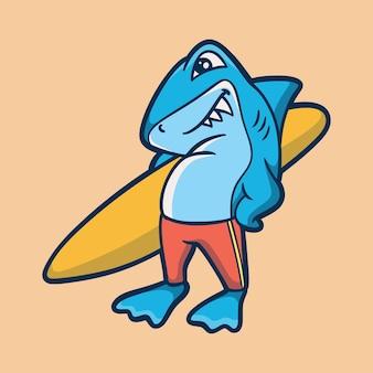 Gli squali di disegno animale dei cartoni animati portano tavole da surf logo mascotte carino mascot