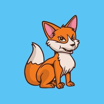 Cartoon animal design seduta volpe carino mascotte logo
