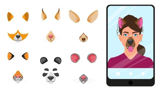 Maschere di facce di animali dei cartoni animati per selfie, app mobile di chat video. filtri selfie, app per foto mobili con volti di animali maschere illustrazione vettoriale. facce buffe in videochat. app maschera viso cartone animato, museruola selfie