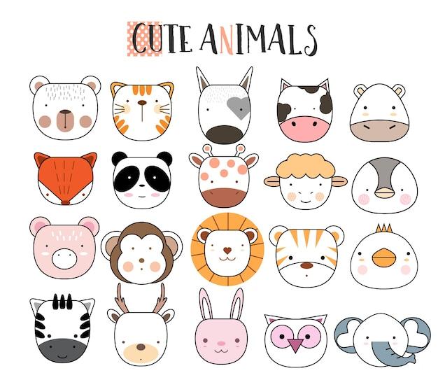 Set di icone animali del fumetto