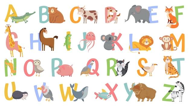 Alfabeto di animali del fumetto per i bambini. impara lettere con animali divertenti, zoo abc e alfabeto inglese per bambini