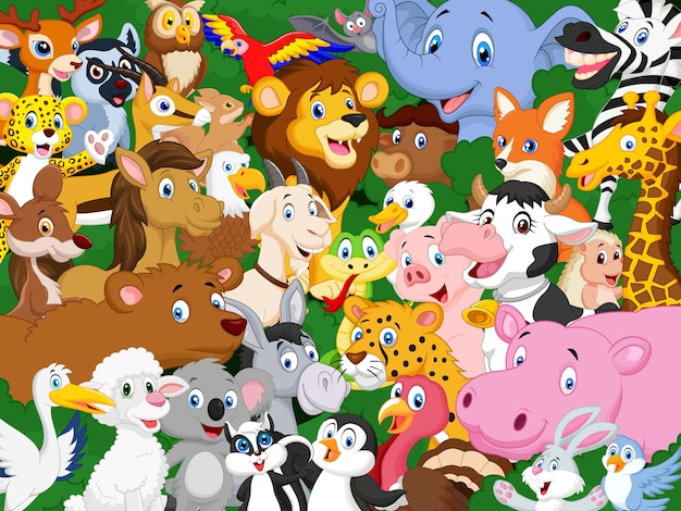 Cartone animato animali sfondo