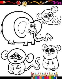 Animali del fumetto per libro da colorare