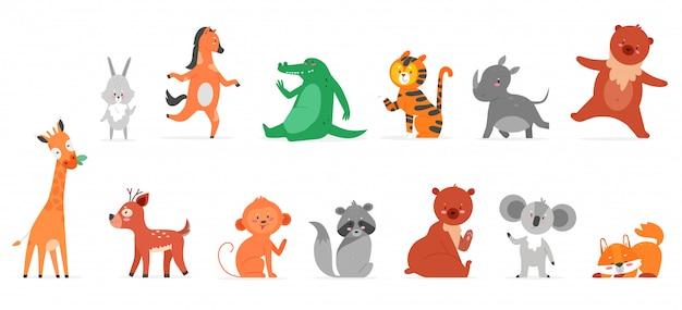 Illustrazioni piane di animali del fumetto. personaggi animali zoo selvaggio divertente sorridente e agitando, collezione di fauna selvatica carina con lepre rinoceronte orsacchiotto giraffa cervo scimmia procione volpe isolata on white