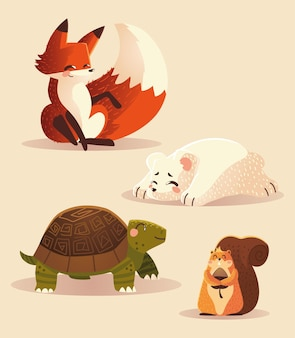 Cartoon animali volpe tartaruga scoiattolo e orso polare icone della fauna selvatica illustrazione vettoriale