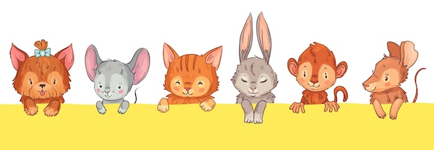 Animali del fumetto che guardano fuori. simpatico cane con fiocco, topo, gatto e coniglio, scimmia e topo. adorabili teste di animali pelosi con facce sorridenti divertenti, guance rosa e occhi chiusi illustrazione vettoriale