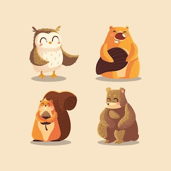 Cartoon animali gufo castoro scoiattolo e orso illustrazione della fauna selvatica