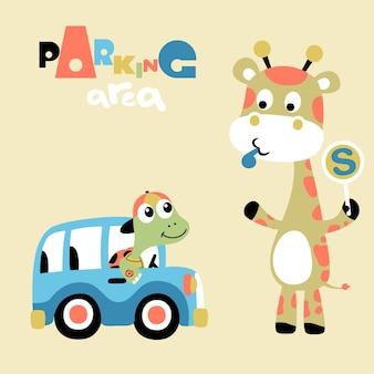Cartone animato di animali che giocano tempo Vettore Premium