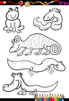 Animali del fumetto impostato per libro da colorare