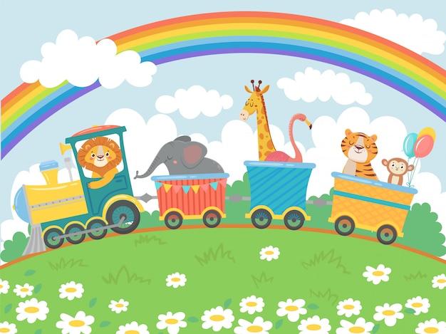 Gli animali dei cartoni animati viaggiano. treno dello zoo, viaggio di treni animali carini e animali domestici divertenti che viaggiano sull'illustrazione del fondo di vettore della locomotiva
