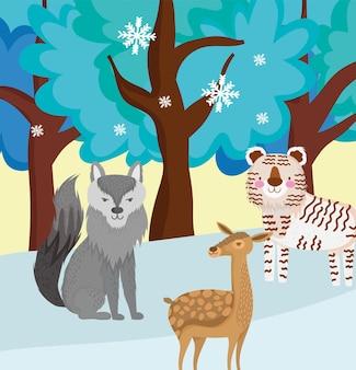 Animali dei cartoni in inverno