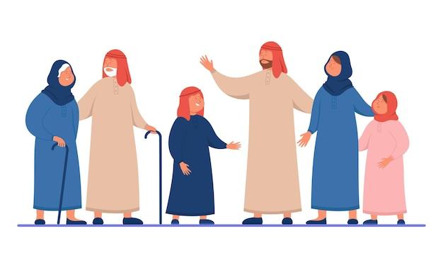 Famiglia araba del fumetto in vestiti tradizionali. illustrazione piatta
