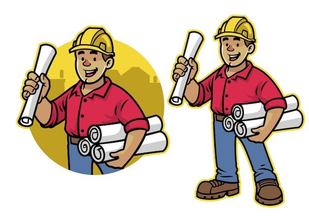 Cartone animato della mascotte dell'operaio architech