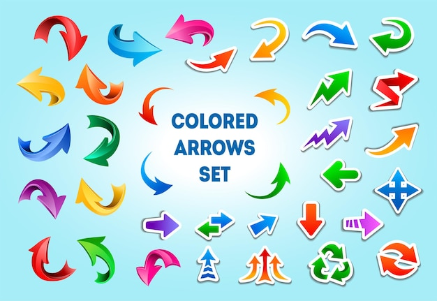 Icone della freccia del fumetto in diversi stili. puntatori di direzione con tratti bianchi, frecce curve