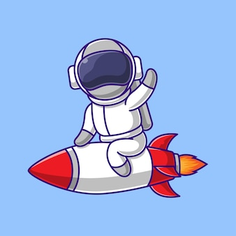 L'astronauta del fumetto sta cavalcando un razzo volante