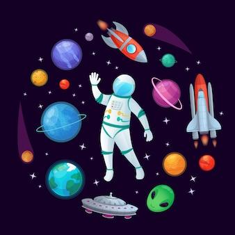 Cartoon astronauta nello spazio. razzo spaziale, astronave stazionaria ufo e illustrazione dei pianeti