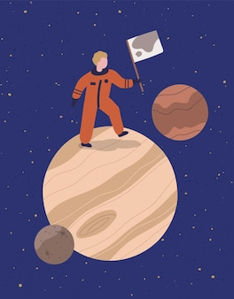 Cartoon astronauta stare sul pianeta tenere bandiera