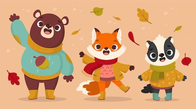 Collezione di animali autunnali dei cartoni animati