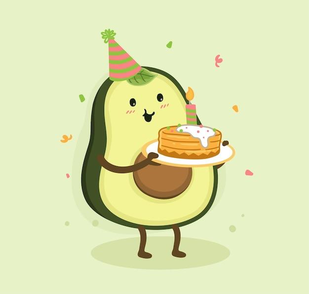 Compleanno di avocado dei cartoni animati