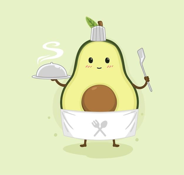 Cartone animato avocado cucina