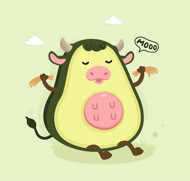 Mucca avocado dei cartoni animati