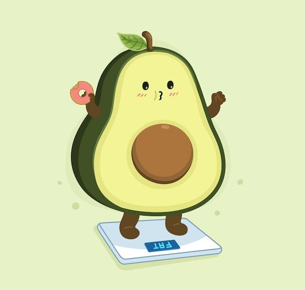 Cartone animato avocado grasso corporeo