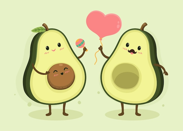 Cartone animato avocado famiglia felice