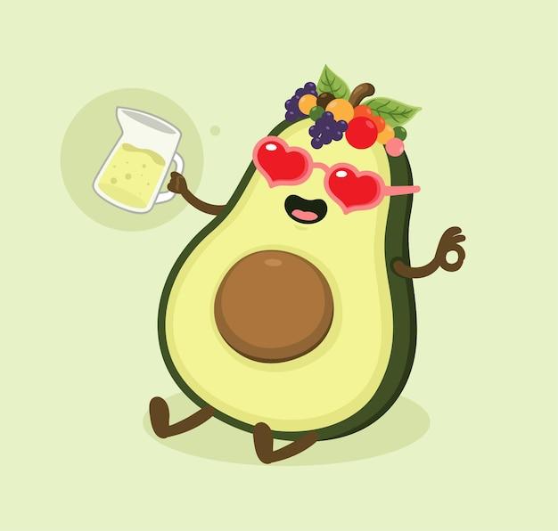 Succo di avocado cartone animato
