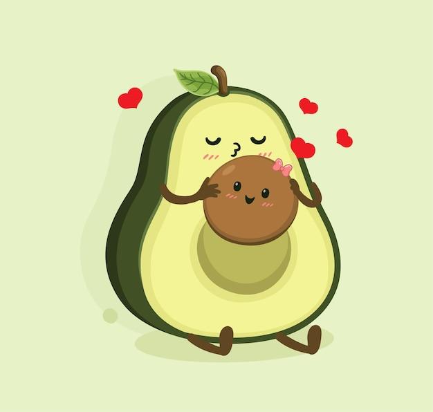 Cartone animato avocado gioca con i bambini