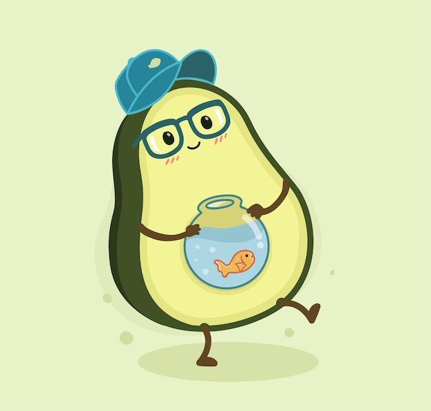 Cartone animato avocado solleva pesce