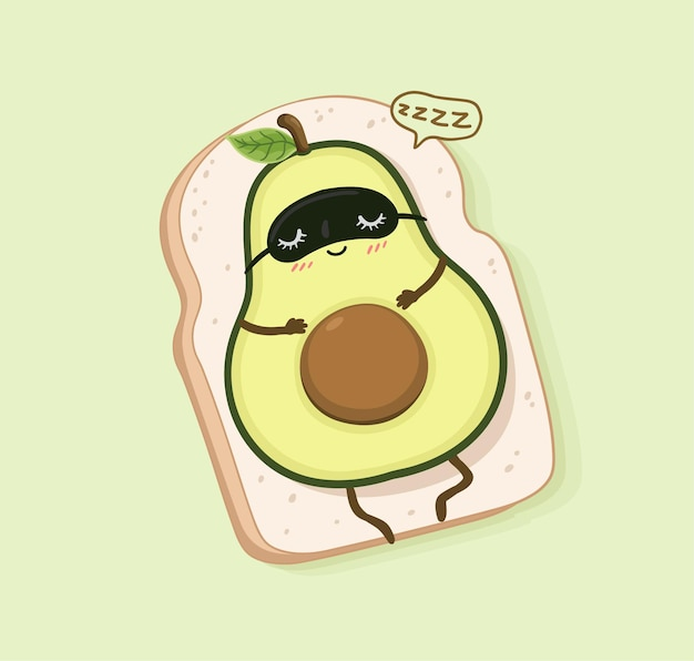 Cartone animato avocado dorme