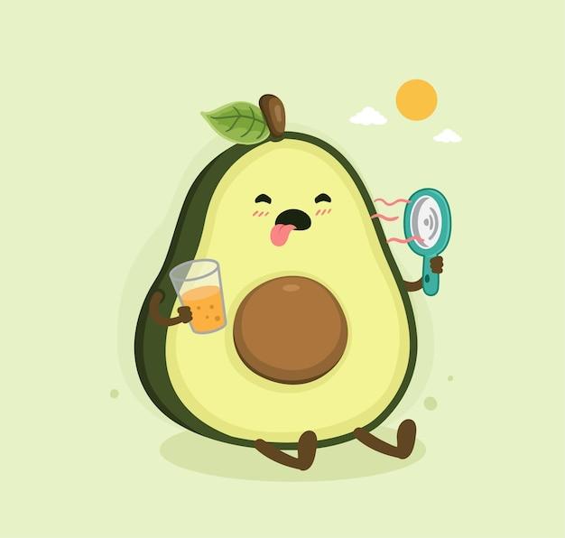 Cartone animato avocado giorno d'estate