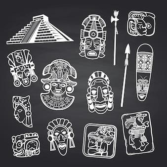 Insieme dell'illustrazione degli elementi della maschera azteca e maya del fumetto