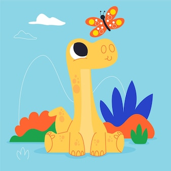 Cartoon baby dinosauro seduto