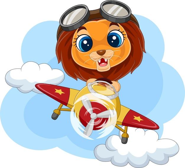 Leoncino cartone animato che manovra un aereo