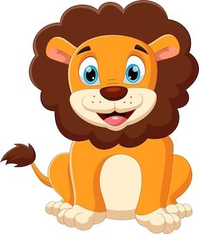 Leone bambino cartone animato in posa con un sorriso
