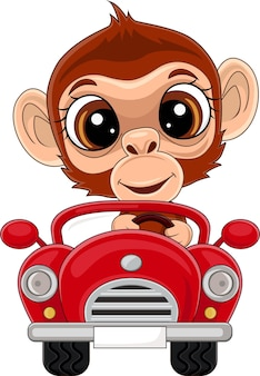 Scimmia cartone animato che guida un'auto rossa