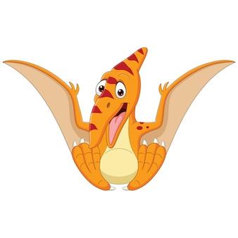 Cartoon baby pterosaurus seduto isolato su sfondo bianco