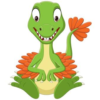 Cartoon baby velociraptor dinosauro seduto