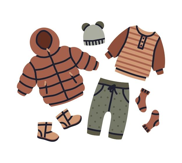 Cartone animato bambino vestito invernale ragazza o ragazzo abbigliamento moderno abbigliamento vettore vivaio set