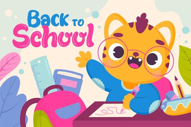 Cartone animato ritorno a scuola sfondo