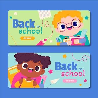 Set di banner per il ritorno a scuola dei cartoni animati