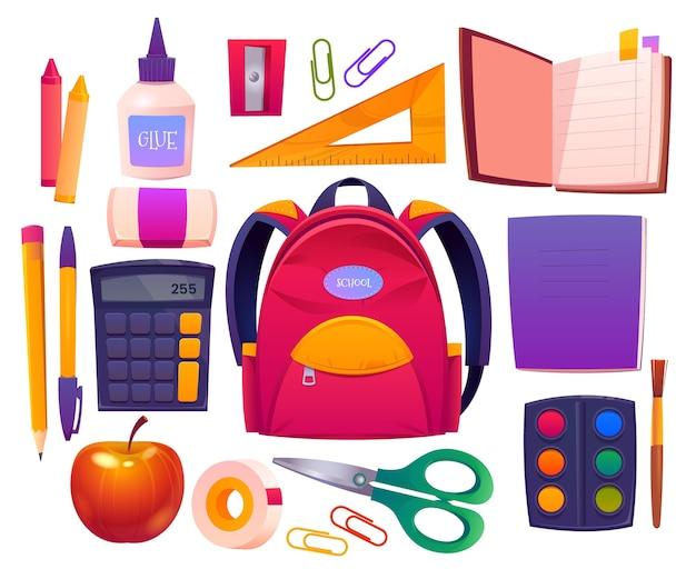 Collezione di cartoni animati per il ritorno a scuola