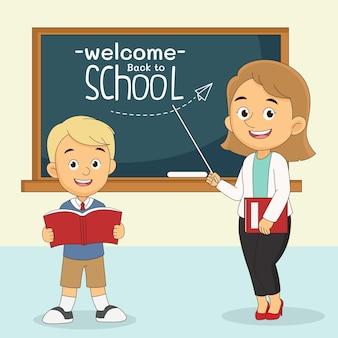 Cartone animato ritorno a scuola insegnante e studente